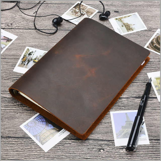 Junetree שחור חום בציר יומני A5 גודל מחברת כתבי עת אמיתי עור