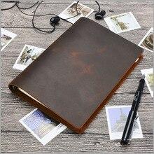 Junetree czarny brązowy Vintage pamiętniki A5 rozmiar czasopisma notebook prawdziwej skóry