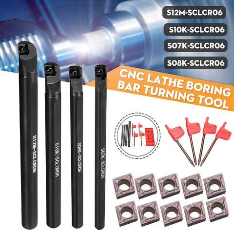 Conjunto de 7 Titular + 10 Sclcr Torno Chato Barra Ferramenta Peças Ccmt 0602 Inserções 4 – 8 10 12mm