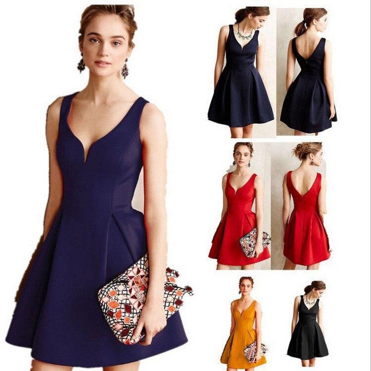 Homecoming Dresses 2018 V neck A line Sleeveless Mini Party Dresses Satin Cheap Vestidos Cortos Rosa 8 Grade Graduation Dresses
