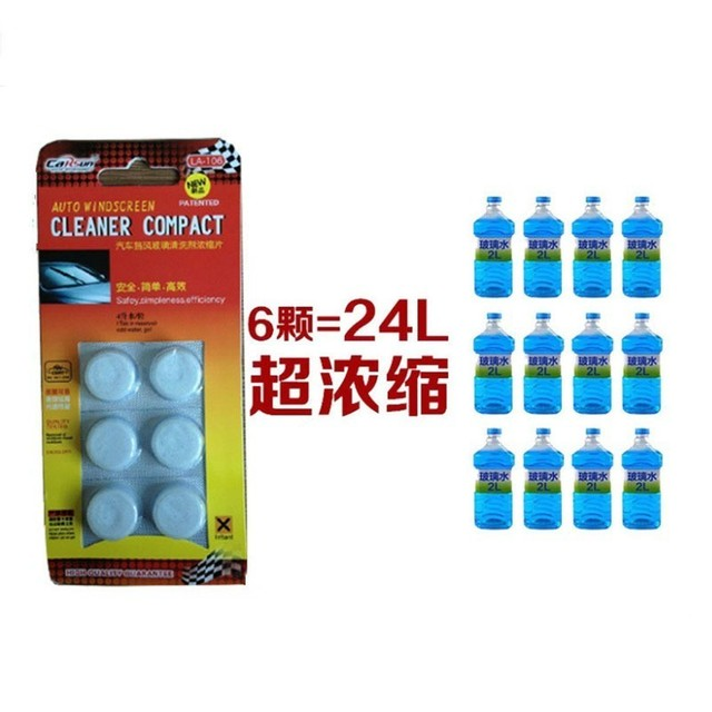 6 Pcs Window Cleaning Tablets Car Windshield Glass Washer Cleaner Compact Effervescent Tablets Detergent 6 pcs=24L Glass Water