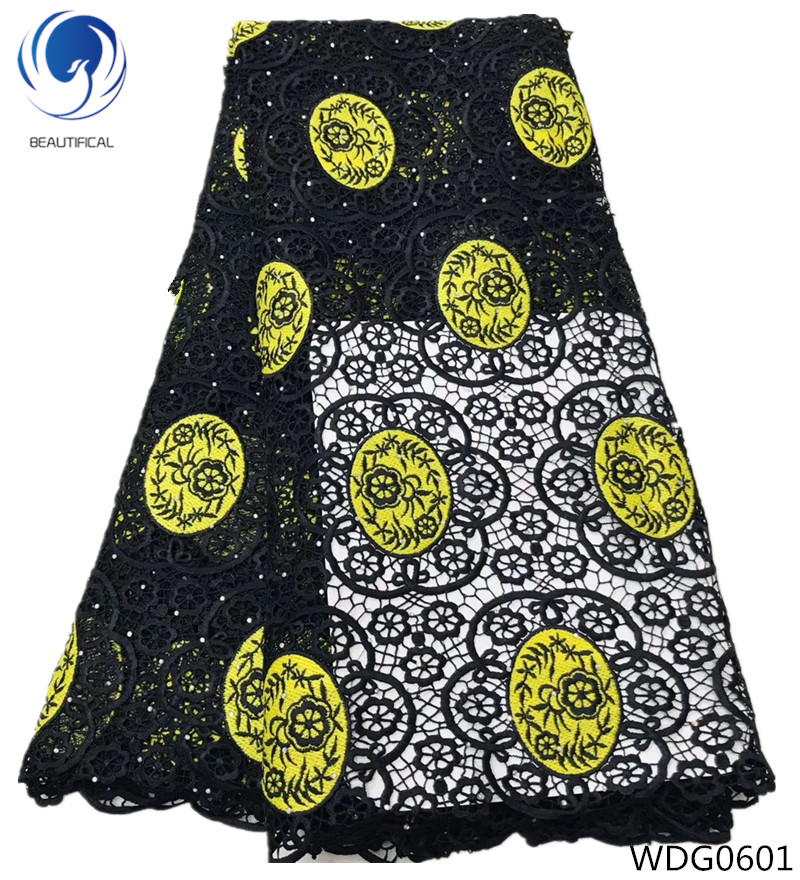 BEAUTIFICAL african cord lace fabrics new arrival guipure lace with stones cupion lace fabrics for bridal dress 5yards/lot WDG06BEAUTIFICAL african cord lace fabrics new arrival guipure lace with stones cupion lace fabrics for bridal dress 5yards/lot WDG06