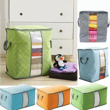 1pcs/lot Home High Quality Bamboo Quilt Storage Bag Pure Color Bags Waterproof Dustproof Clothing Box