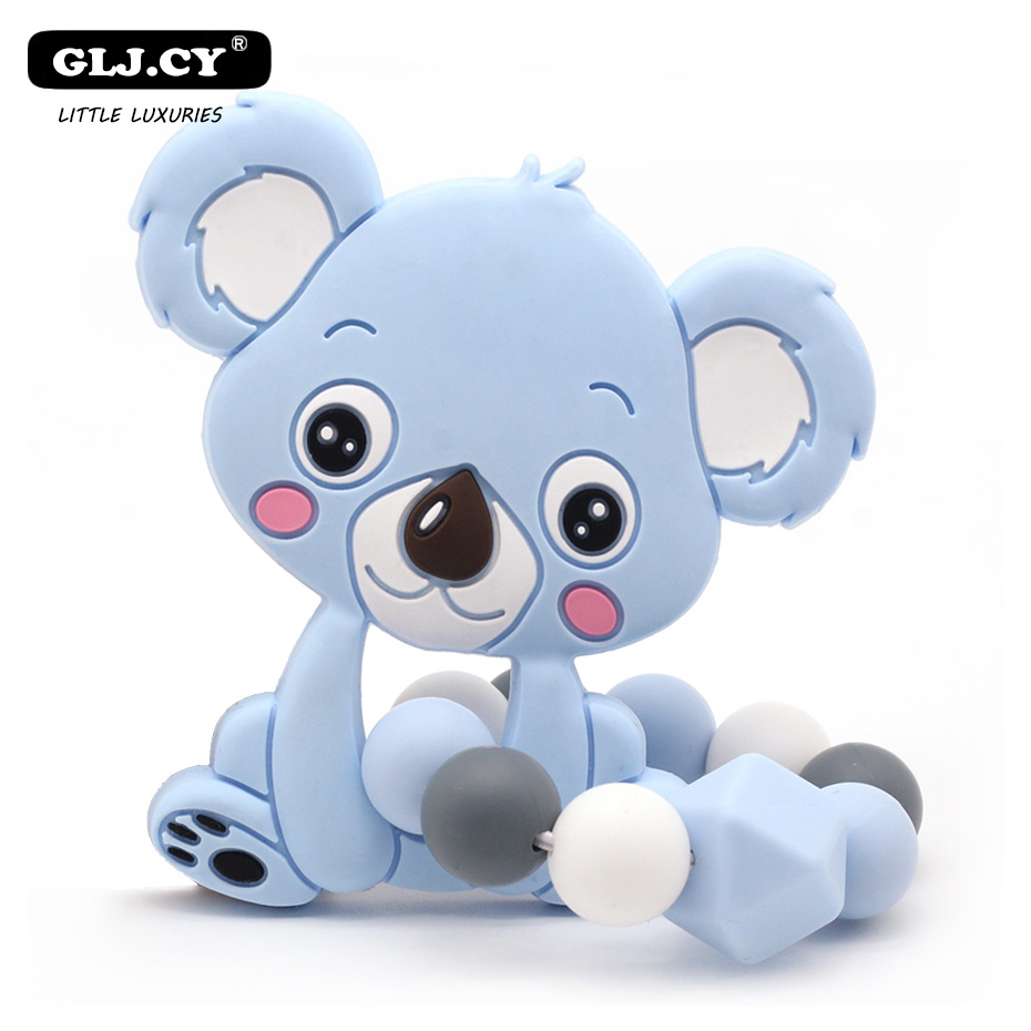 New Fashion 1PC Cute Koala Silicone Teether Baby Silicone Bracelet Silicone Beads Rubber Food Grade Silicone Teether Toys