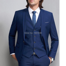 цены Royal Blue Groom Suit for Wedding Men formal Dress Suit 3 Pieces Notched Lapel Prom Blazer Suits (Jacket+pants+vest)