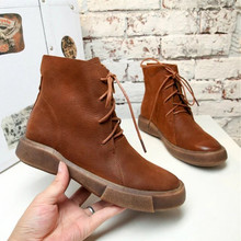 Women Martin Boots  Versatile Winter Imitation Leather Boots Retro Flat Locomotive Single Boots fashion riding casual short shoe