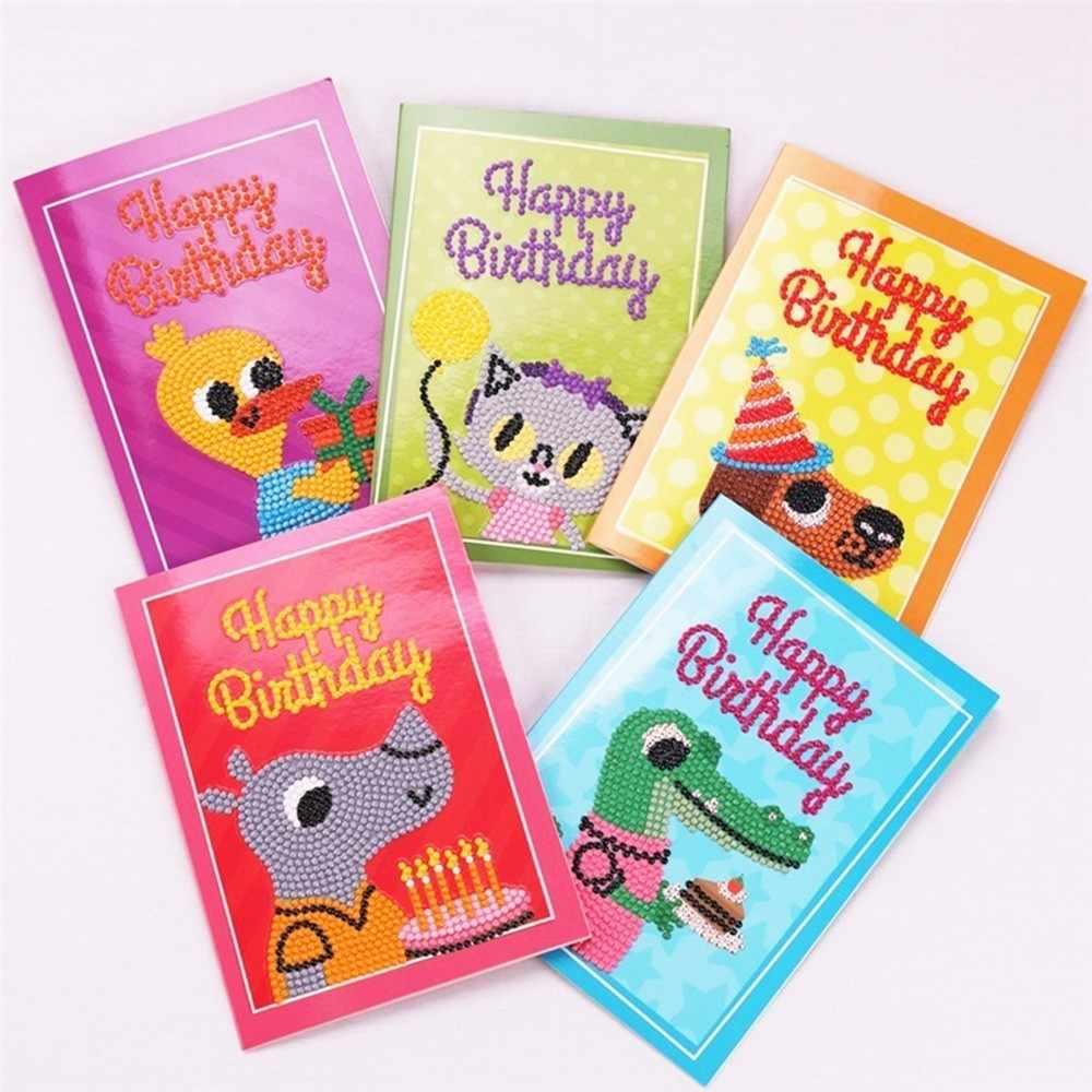 HUACAN Diamond Painting Cartoon Greeting Cards Embroidery Birthday Paper Postcards Christmas Craft 5D DIY