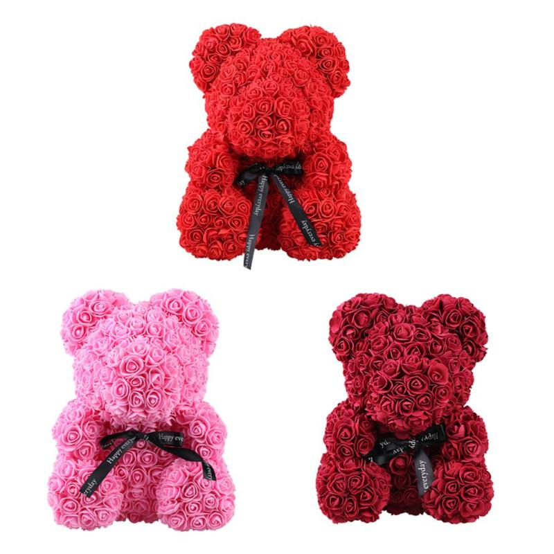 Rose Bear Toy Women Girls Flower Birthday Valentine Wedding Party Doll Gift Artificial Decorations Artificial & Dried Flowers