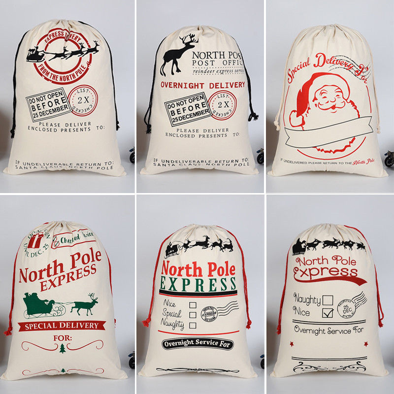 50cm*70cm Large Vintage Christmas Santa Sack Stocking Gift Bag North Pole US