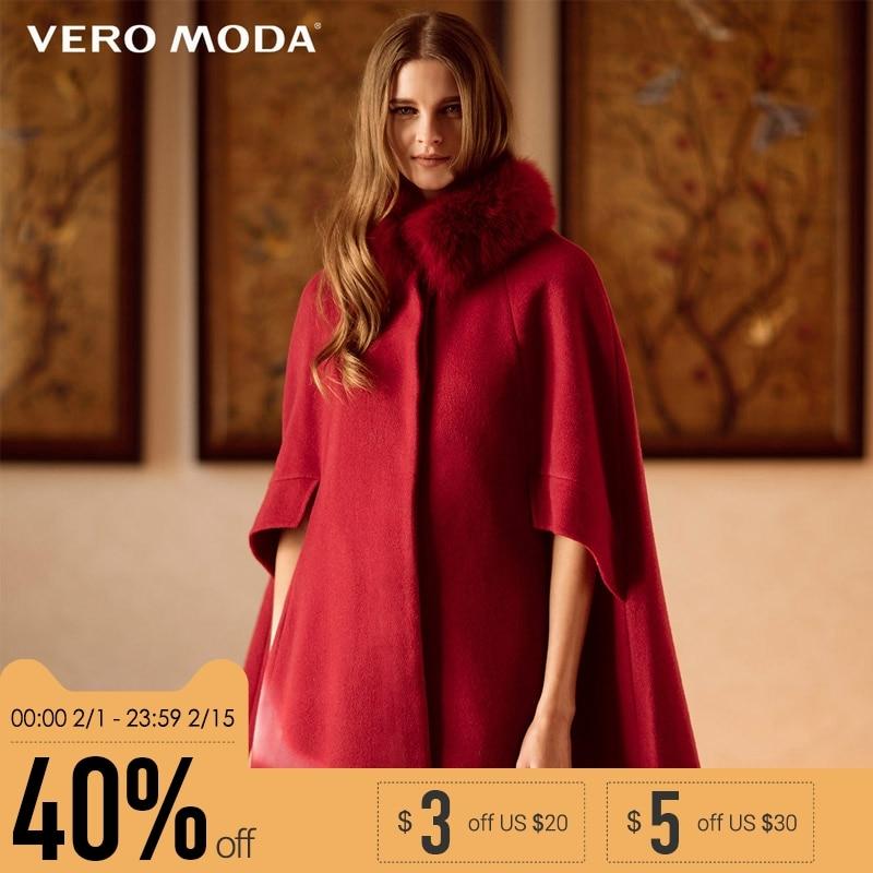 Vero Moda бренд шерсть воротники из лисицы накидка-Тренч пальто женщина | 315427002