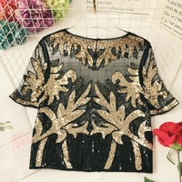 2019 Gauze Sequined Patchwork Women Tops O Neck Short Sleeve Bling Beading T Shirt Floral New Summer See Through Tee Top