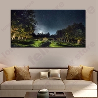 Blue Posters HD Print Night View Under Bright Moon Landscape Pictures for Modern Home Theater Vestibule Wall Decor Dropship Gift