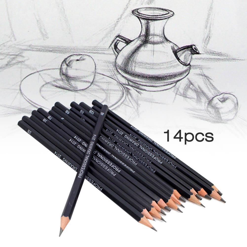 Высококачественный экологический набор из 14 эскизов про карандаши для рисования 6H-12B диапазон древесного угля эскизный карандаш черный мат...