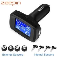 Car Smart TPMS Tyre Pressure Monitoring System 4 External / Internal Sensors Cigarette Lighter USB Realtime Tire Alarm PSI BAR цена