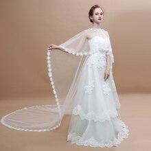 2018 New Long Wedding Cloak White Lace Appliques Bridal Wrap Vestidos Cape Shrug Accessories Women Costume Cover Up Handmade