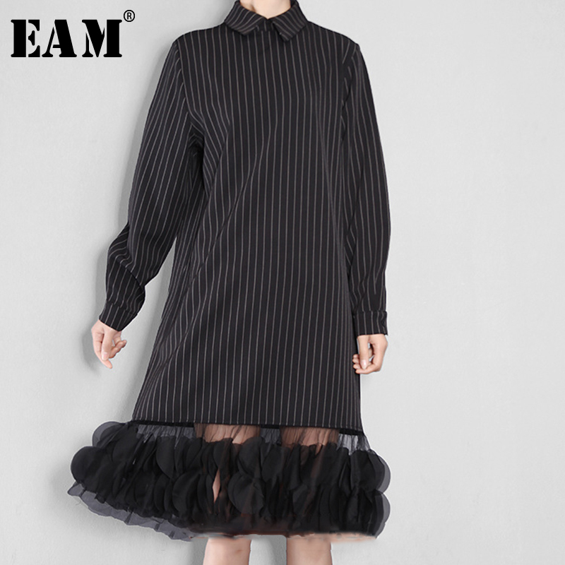 [EAM] 2019 Autumn Winter Woman Black Color Long Sleeve Turn-down Collar Straight Long Loose Spliced Mesh Dress All Match 4L0