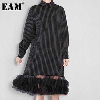 c7fcfbffb  EAM 2019 primavera verano Mujer Color negro largo manga cuello recto largo  empalmado de malla vestido 4L0