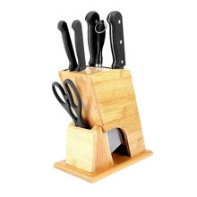 Hot SaleBamboo wood Knife Storage Block Without Knives  Holder Antiseptic nature Kitchen supplies