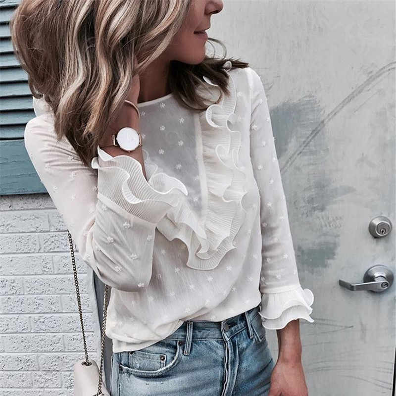 Hirigin Artı Boyutu Bayan Bluz Bayanlar Fırfır fırfır Uzun Kollu Perspectived Rahat Yüksek Sokak Üst Polka Dot Gömlek Bluz S-XL