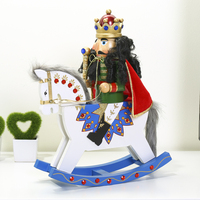14 Inch Traditional King Nutcracker Wooden Puppet Figurine with Rocking Horse Collectible Wooden Craft Christmas Decoration