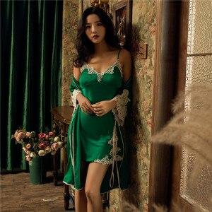Image 4 - Damska suknia i suknia ustawia kwiat satynowa bielizna nocna kobiet Sexy jedwabne koronki panie szata zestaw jedwabiu snu salon szata elegancka koszula nocna