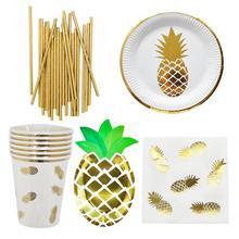 Одноразовые столовые приборы бронзового цвета с ананасом, поднос для бумажных стаканчиков, полотенца, столовые приборы, вечерние, праздничные, свадебные принадлежности, декорации