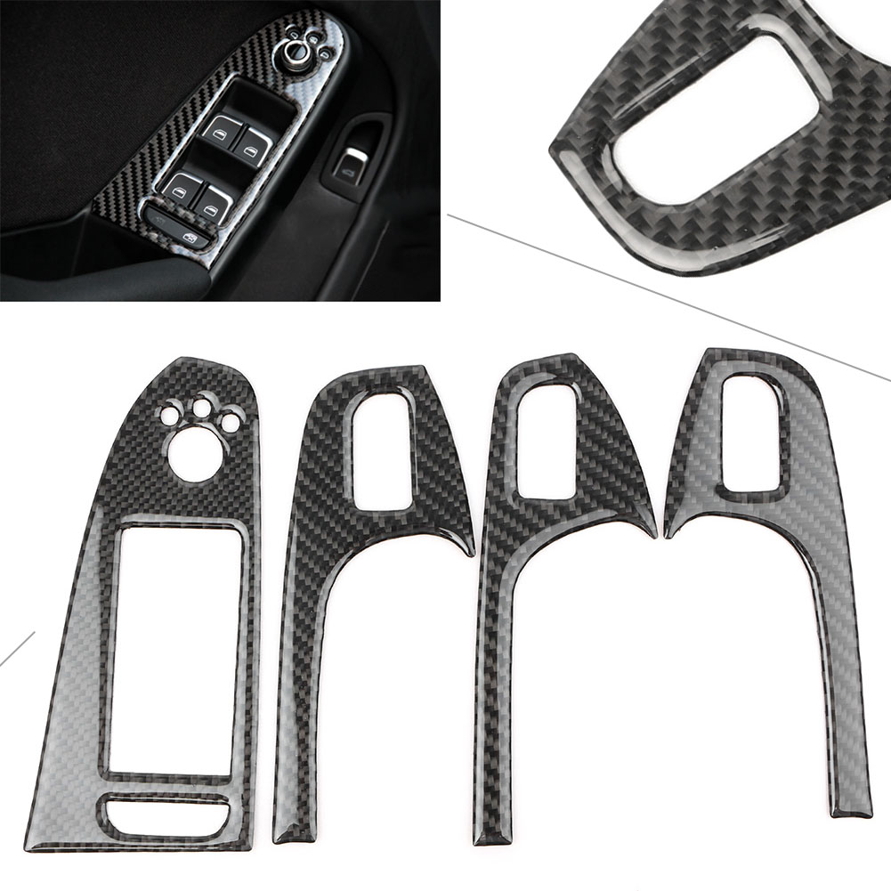 4PCS Carbon Fiber Interior Door Cover Protector Armrest Trim Decoration For Audi A4 B8 2008 2009 2010 2011 2012 2013 2014 2015 image
