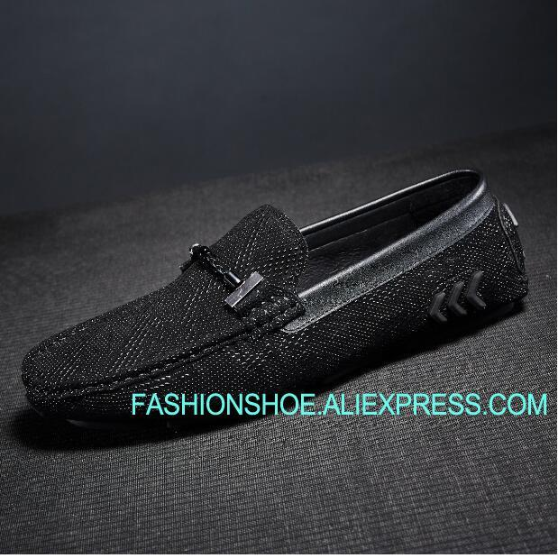 Fashion Black Mens Loafers Flat heel Comfortable Genuine leather Black Peas Shoes 2018 fashion tassels ornament leopard pattern flat shoes loafers shoes black leopard pair size 38
