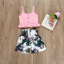2-6T Toddler Kids Baby Girls Flower Clothes set Boho Beach Summer Ruffles Vest Crop Tops Shorts Cute party princess Outfits(China)
