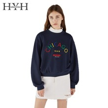 HYH HAOYIHUI  2019 Fashion Girl Cute Rainbow Letter Embroidered Ribbed Loose Top Printing New Arrival Hoodie