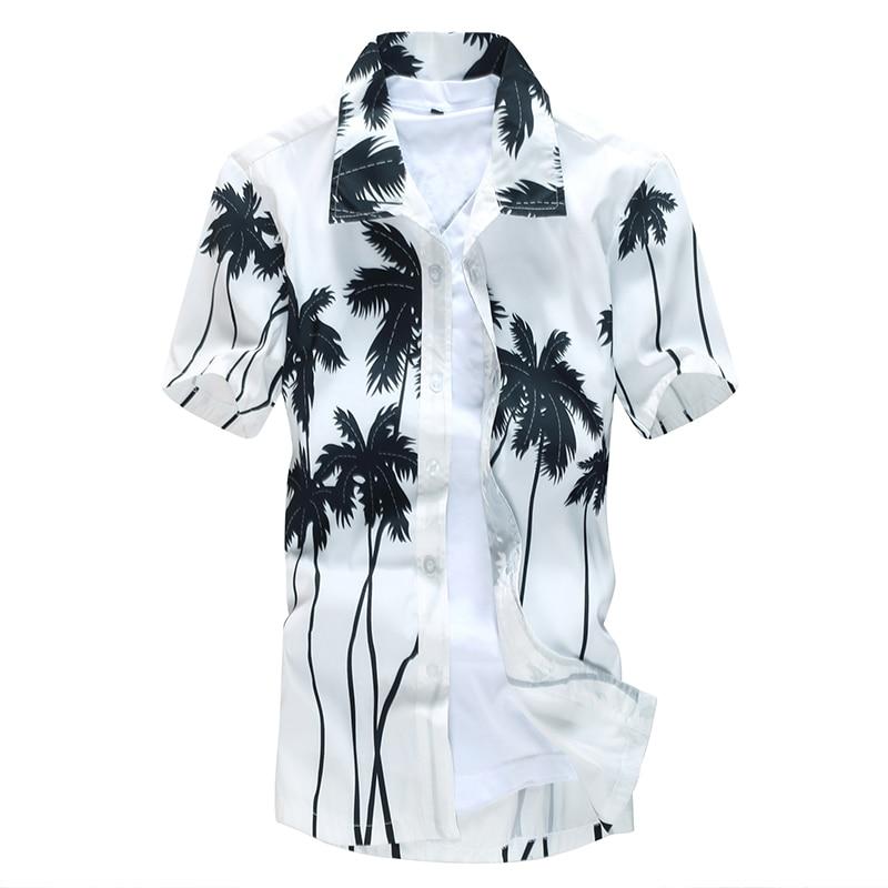 Aloha Hawaiian Shirt Men Clothes 2019 Summer Camisa Havaiana Shirts Coconut Tree Printed Short Sleeve Mens Sandy Beach Wear 5XL