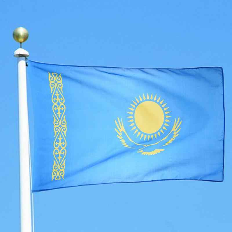 Kazakhstan Flag 90*150cm Hanging Flags Office/Activity/Parade/Home Decoration Banner For Festival The World Cup 1pcs