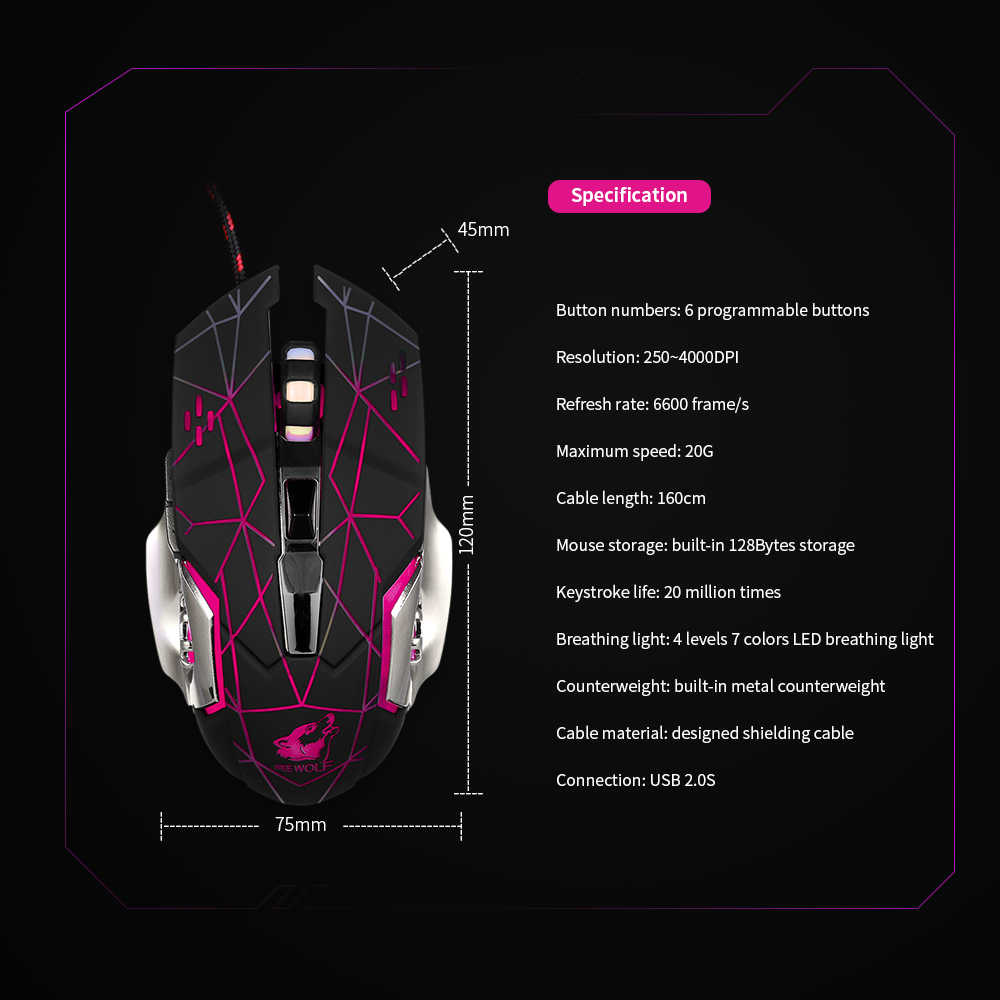 Free Wolf Wired Gaming Mouse Professional FPS Mouse with 4000DPI Gaming  Mice with Programmable Buttons Ergonomic Grip RGB Light