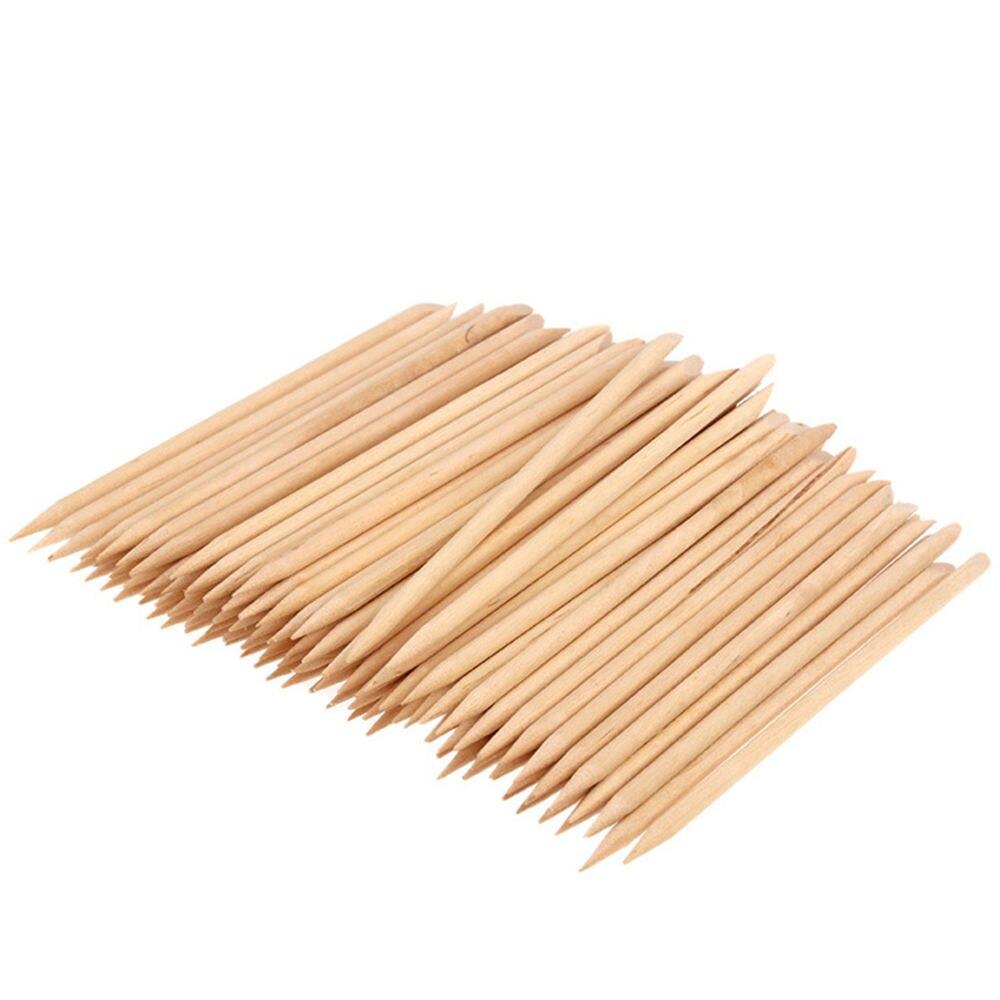 100 Pcs Nail Art Design Orange Wood Stick Sticks Cuticle Pusher Remover Pedicure Care For Cuticle Removal Manicure Nail Tools