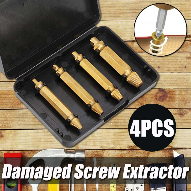 4pcs Durable Gold Damaged Screw Extractor Drill Bits Guide Set Broken Speed Out Easy Out Bolt Stud Stripped Screw Remover Tool