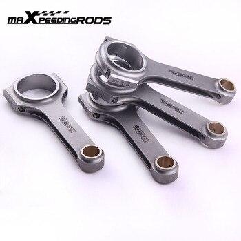 4x H-beam Bielle Per Nissan Silvia 180SX 200SX S13 CA18 CA18DET 133 millimetri biella con canna Galleggiante pistone pin