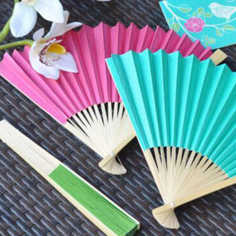 1Pcs Summer Vintage Bamboo Folding Hand Held Flower Fan Chinese Dance Paper Fans Party Pocket Gifts Wedding Stage Props