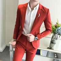 2018 Autumn Solid Color Man's Suit Party Dress For Mens Suits Mens Dress Duits Wedding Esmoquin Mens Suits Slim Fit Traje Rosado