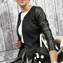 Women Outwear PU Leather Patchwork O-neck Jackets Female Casual Short Thin Coats Slim Plaid Blazers(China)