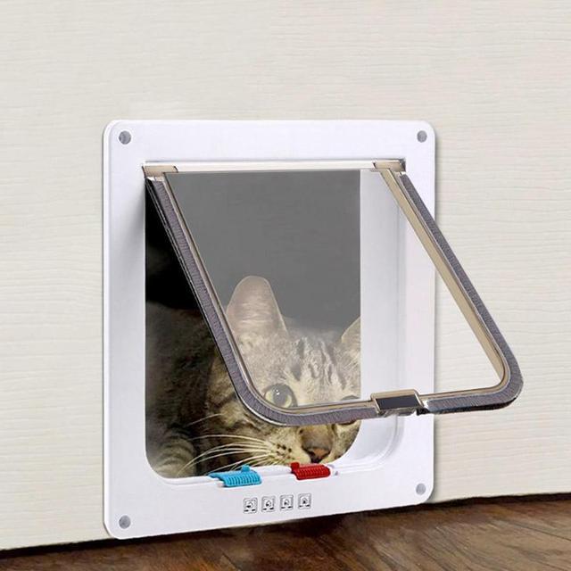 4 דרך הניתן לנעילה כלב חתול דלת חתלתול אבטחת דש דלת גור שער פלסטיק ABS פלסטיק S/M/L בעלי החיים קטן ציוד לחיות מחמד מוצרים