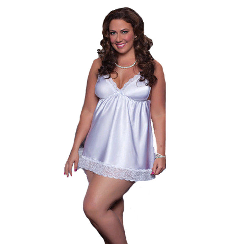 New Plus Size Sexy lingerie silk robe dress Lace V neck Strappy women's Nightdress Nightgown Sleepwear Nightgowns Sleepshirts