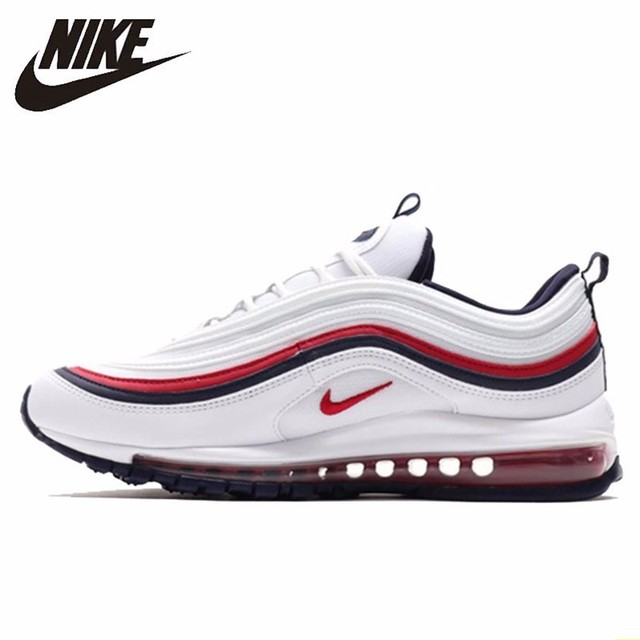 low priced 1bbe4 e54aa Nike Air Max 97 White Red Bullet Men Running Shoes Air Cushion Leisure Time  Shoes Comfortable Sports Sneakers  921733-102