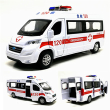 1:32 Scale Ambulance Hospital Rescue Police Alloy Vehicle Sound And Light Diecast Car Model Toys For Children With Pull Back
