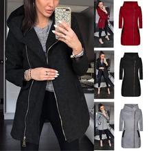 New Fashion Women Casual Hooded Oblique Pocket, Hip Length Zipper Pocket Solid Long Sleeve