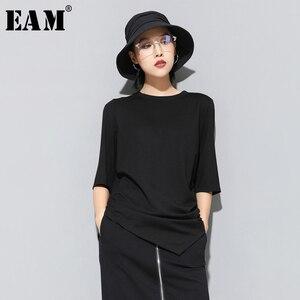 Женская футболка EAM JS997, Черная/Красная футболка с рукавом три четверти и круглой шеей, весна-лето 2020