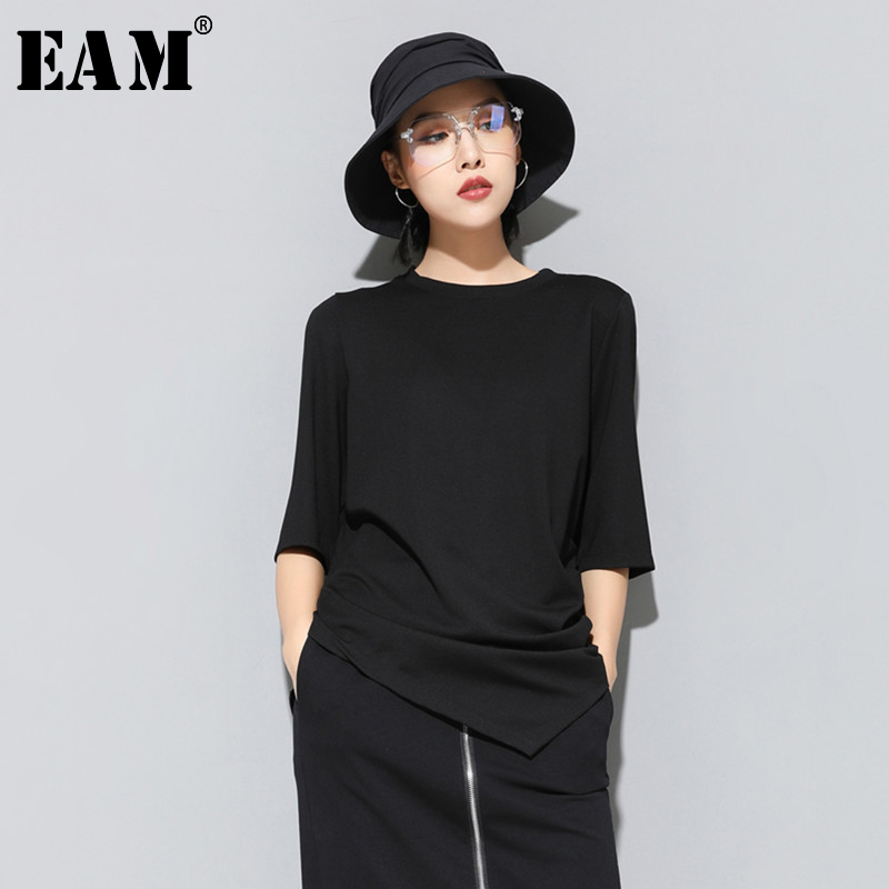 [EAM] 2020 New Spring Summer Round Neck Three Quarter Sleeve Red Black Irregular Hem Loose Brief T-shirt Women Fashion JS997