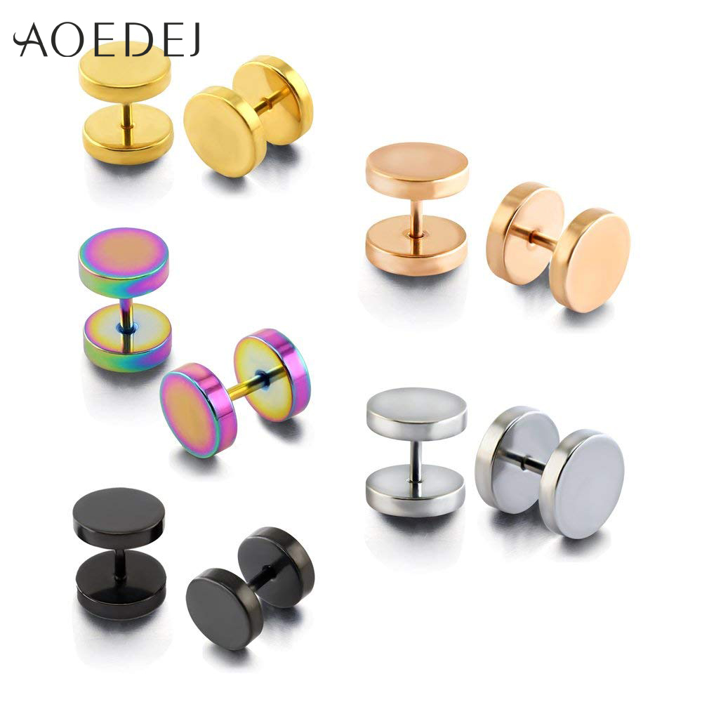 AOEDEJ 3~14mm Stainless Steel Earring Ear Stud Earrings Men Black Gold Round Earrings for Women Men Earrings Fake Plug Piercing