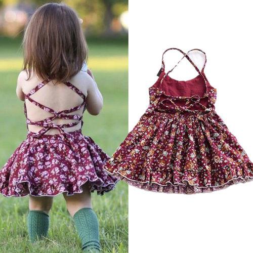 Toddler Kids Baby Girls Sleeveless Tutu Dress Party Princess Dresses Sundress