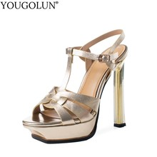 цена на Cow Leather T-Strap High Heel Sandals Women Summer New A209 Lady Buckle Thin Heels Sandal Sexy Woman Gold Silver Open Toe Shoes