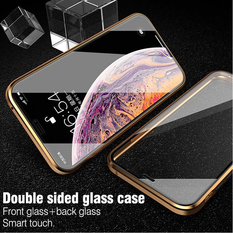 Image 5 - For iphone 8 7 plus iphone X XS Max XR phone case 360 cover coque Luxury Double sided front+back clear glass metal Magnetic case-in Fitted Cases from Cellphones & Telecommunications